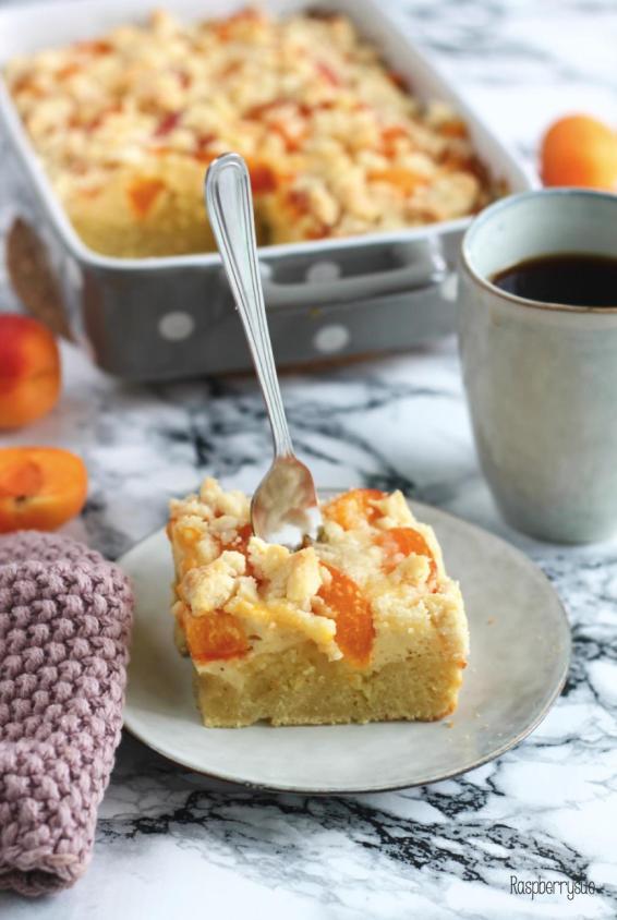 Schneller Quark Streuselkuchen Mit Aprikosen Raspberrysue